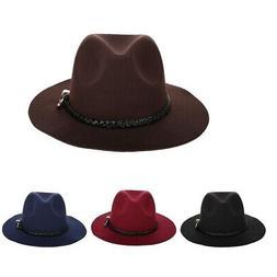 Womens Classic Fedora Hat w/Belt Buckle Felt Panama Hat for