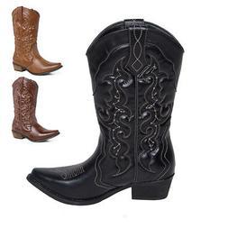 SheSole Womens Ladies Wide Calf Heel Western Pointed Toe Cow