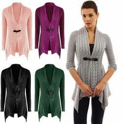 Womens Slim Knitted Long Sleeve Sweater Coat Belt Buckle Twi