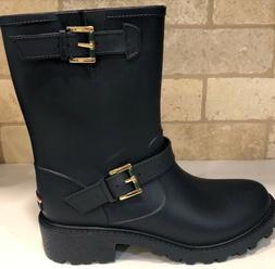 Womens Tommy Hilfiger TWDEW Moto Rain Boots Navy Blue Size 9