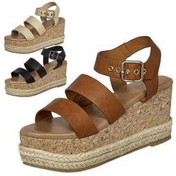 Womens Wedge Heels Platform Sandals Belt buckle Strap Espadr